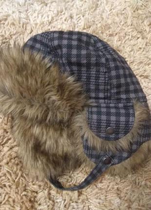 Зимняя шапка-ушанка h&m для мальчика 104-116см.