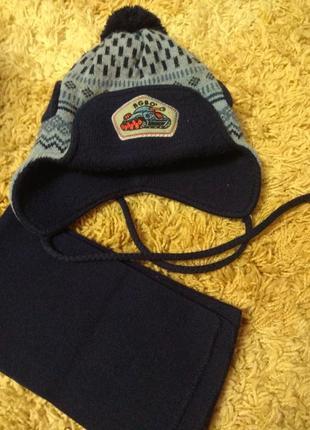 Шапка шарф agbo для мальчика на ог 50-52см.