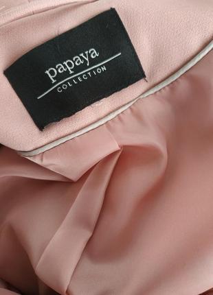 Стильный пиджак-кардиган  papaya пыльно-розового цвета7 фото
