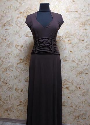 Супер стильной нарядное трикотажное платье в пол из плотного трикотажа, размер 46-50