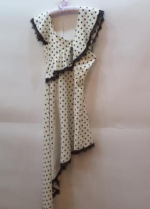 Ассиметричное платье в горошек, boohoo, uk 10, великобритания