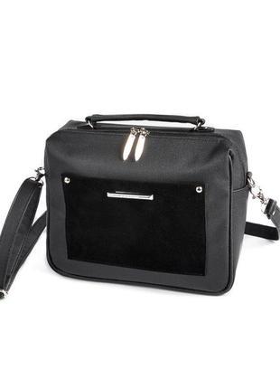 Черная маленькая сумка через плечо кросс боди замшевая вставка
