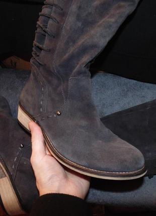 Ботинки сапоги ботфорты из натуральной замши next оригинал