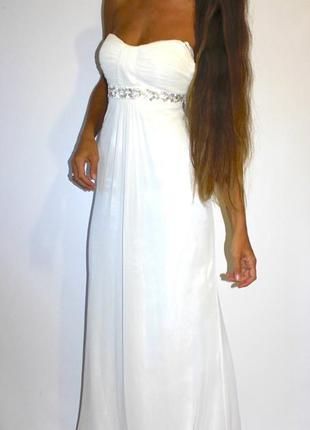 Белое шифоновое платье на выпускной свадьбу { на бирке 5200грн }