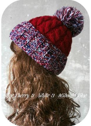 Любая расцветка! хлопковая шапка с отворотом/косы/помпон/вишня, синий, белый/меланж
