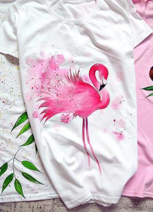 Handmade 🎨 неймовірна футболочка , фламінго ❤️ техніка акварель 🖌️ всі розміра.