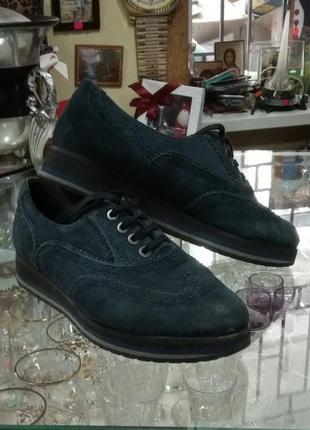 Туфли на низком ходу натуральный замш 37 размер