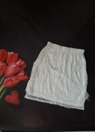 Кружевная юбка с бахромой boohoo,р-р 10