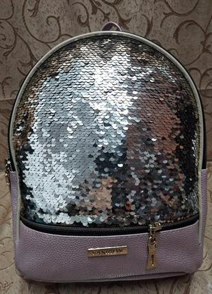 Женский рюкзак эко-кожа пайетки д134