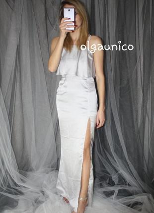 Роскошное сатиновое макси платье