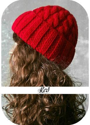 Любая расцветка! хлопковая шапка с отворотом/косы/красного цвета