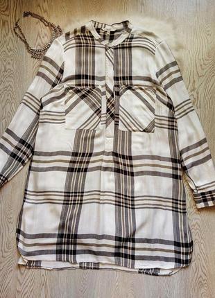 Натуральное белое платье рубашка в полоску с рукавами карманами батал большой размер