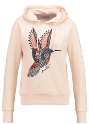 Светло-персиковый свитшот с капюшоном/худи/толстовка с колибри от  even&odd s