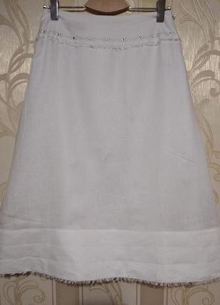 Белоснежная льняная юбка