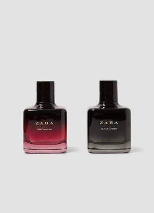Духи zara очень стойкие black amber + red vanilla 100мл+100мл