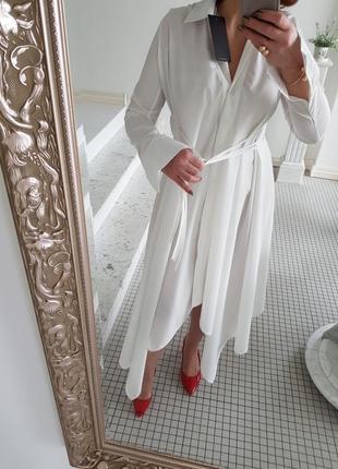 Платье рубашка ослепительная белоснежная манжеты пышная юбка на шнурках фэшн стиль