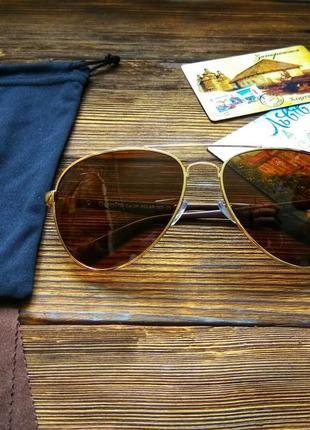 Мужские солнцезащитные очки с поляризацией, классика, коричневые