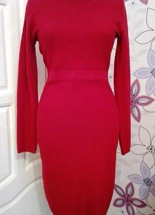 Теплое вязаное платье бордового цвета, миди, р. s-m.