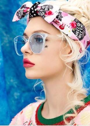 Солнцезащитные полупрозрачные голубые крупные очки с дымчатой линзой