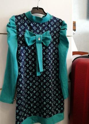 Платье туника весенние-осеннее на девочку 6 - 8 лет
