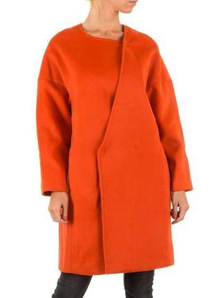 Пальто женское оверсайз от бренда julie by jcl (франция) коралловый