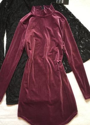 Платье бархатное приталенное missguided 14 размер