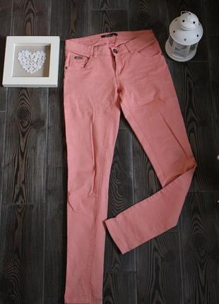 Деним брюки джинсы персикового кораллового  цвета