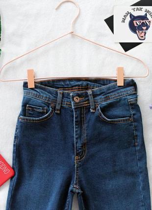 Женские синие узкие джинсы (скинни) с завышенной талией3 фото