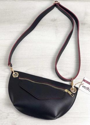 Женская сумка сумка на пояс- клатч нана черного с красным цвета