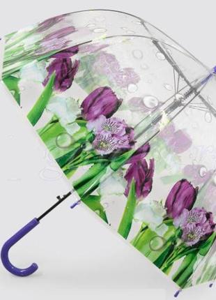 Очаровательный женский прозрачный зонт трость цветы в росе