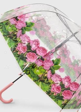 Очаровательный женский прозрачный купольный зонт трость цветы в росе