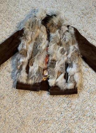 Продам замшевую куртку с натуральной лисой iceberg