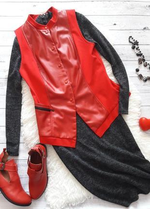 Жилетка из эко кожи, красная кожаная жилетка, кожаный красный жилет