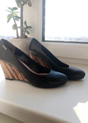 Шкіряні туфлі на платформі з змііним принтом