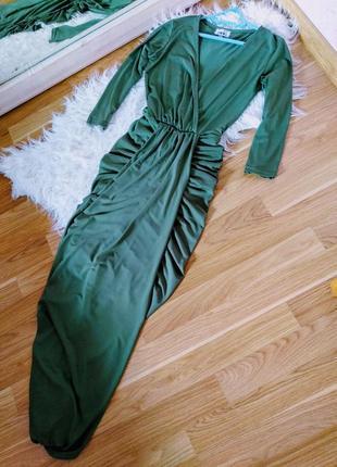 Шикарное изумрудное макси платье, длинное платье хаки