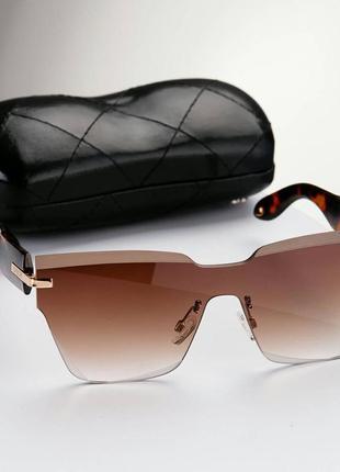 Солнцезащитные очки без оправы коричневые