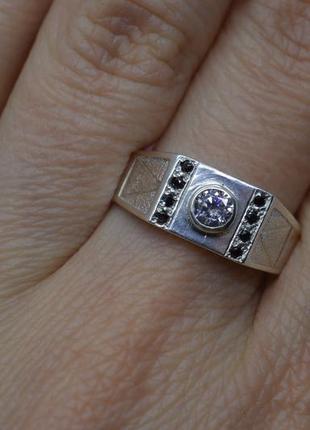Серебряное #кольцо, #печатка, #перстень, #камни, #срібна_печатка, #унисекс, #925, 19,5р-р