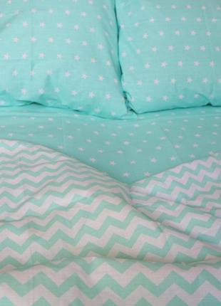 Бязевое постельное белье горошек полоска