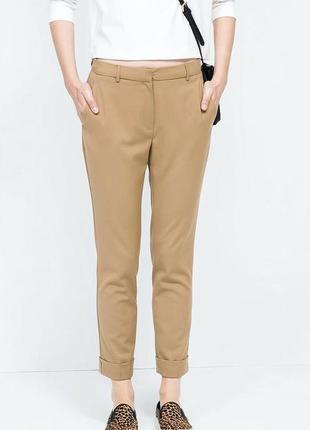 Укорочённые брюки сигареты цвета кэмэл с широким отворотом