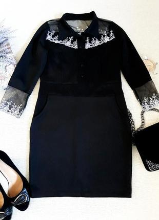 Красивейшее платье черное с белым кружевом