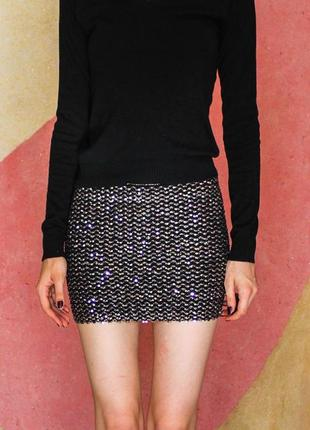 Блестящая яркая клубная юбка серебрянная серебристая с паетками