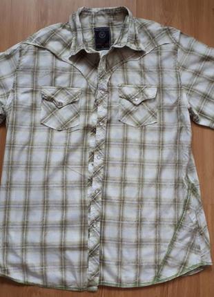 Сорочка з короткими рукавами на кнопках в клітинку