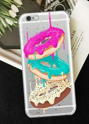 Силиконовый чехол для iphone 7 айфон 7 с яркими пончиками
