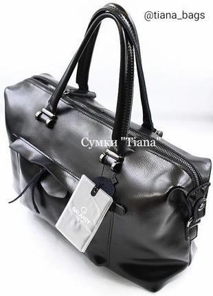 Стильная модная кожаная черная сумка женская casual шоппер с ремешком натуральная кожа
