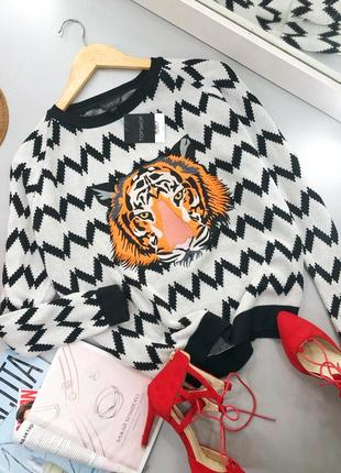 52c25861f6a9e7e Стильный оверсайз свитер с тигром в стиле kenzo topshop Topshop ...