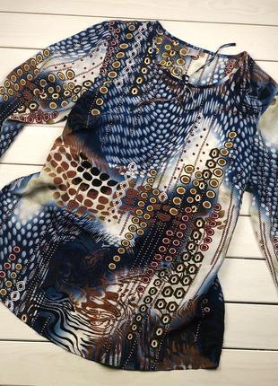 Синяя блуза, блузка с рукавом 3/4 и коричневыми узорами