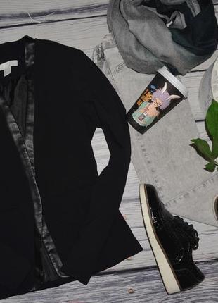 2/32/xs-s h&m женственный фирменный жакет пиджак фрак черного цвета с кожаными полями