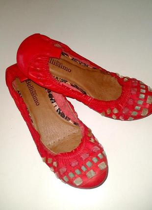 39р. кожаные красные балетки-плетёнки  bellissimo, бразилия