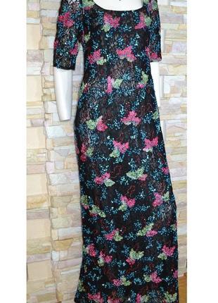 Роскошное макси-платье платье ручной работы дизайнера liz malraux design! эксклюзив!