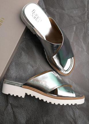 Franco sarto оригинал серебристые сандалии на платформе бренд из сша